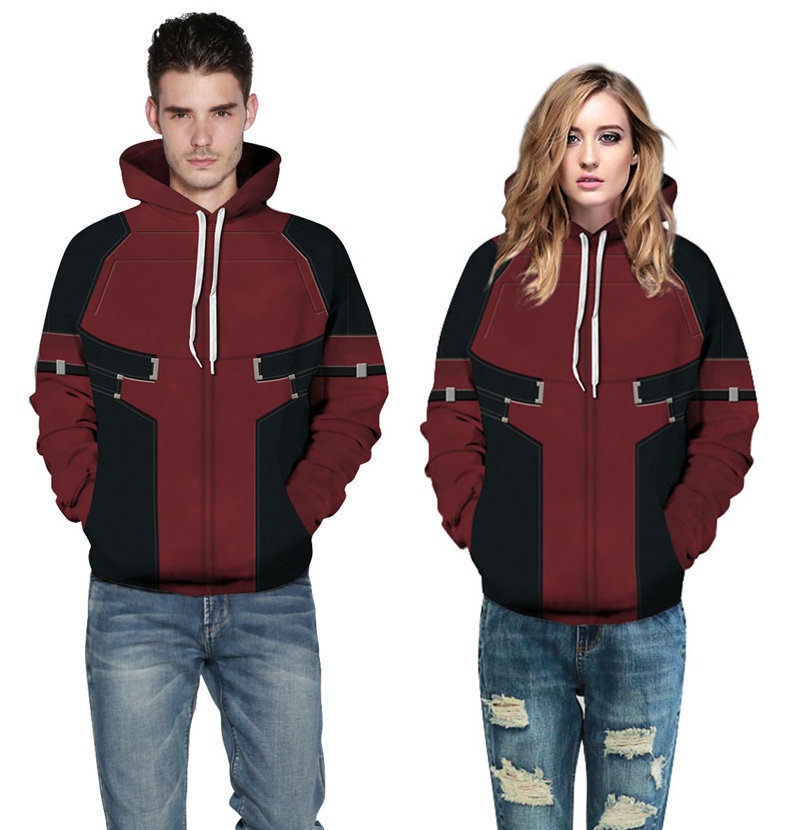 Deadpool Cosplay Adult Men Women Costume Coat Hoodie Pullover Outwear Coat Jacket Casual Basic Top Halloween Fancy Dress Outfits