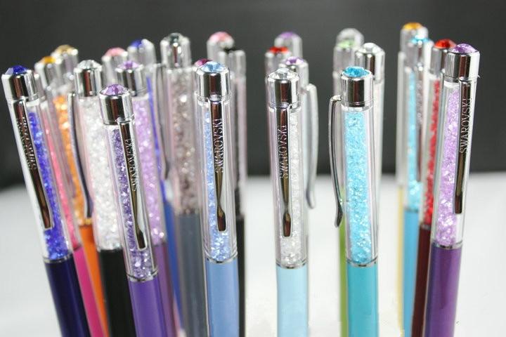 Swarovski elements Кристалл ручка с пополнения или подарочная коробка сумка дополнительно Кристаллический Шариковая Ручка свадебный подарок оптовой розничной торговли