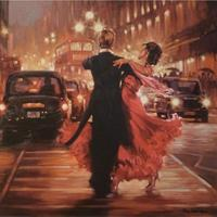 Hand painted oil paintings canvas art Lover dancers Romance in the City abstract monder artwork for wall decor