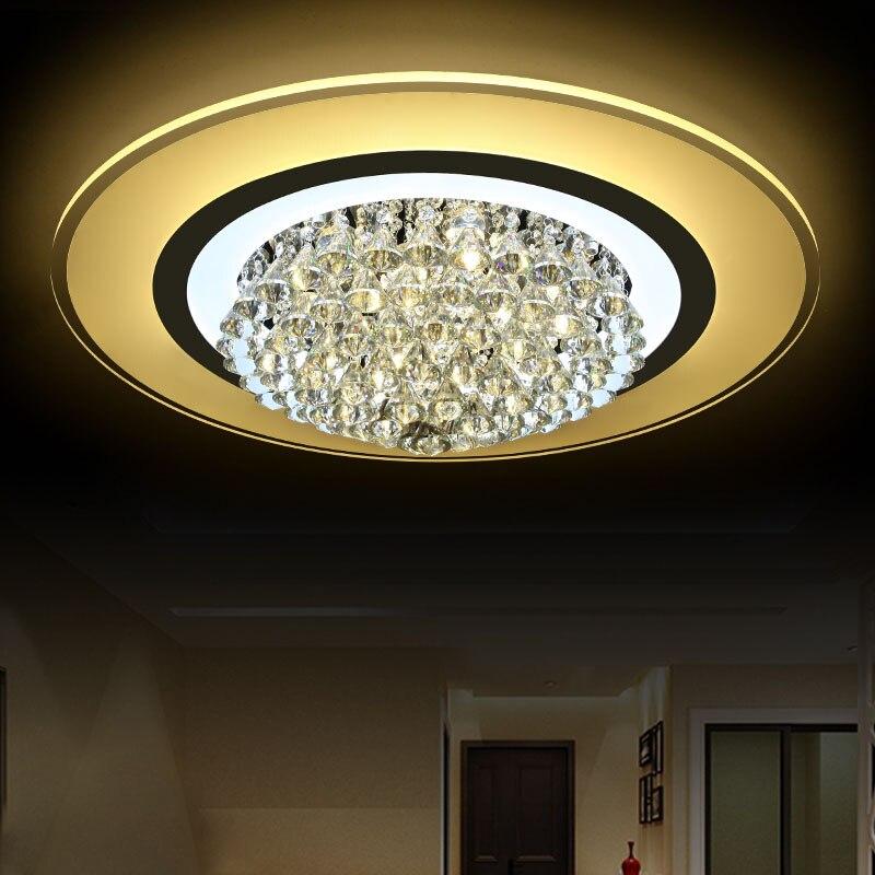 modern LED crystal lamp ceiling lamps ultra-thin living room round bedroom light restaurant lighting ceiling lights ZA ZL502