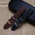Watchband strap Genuine Leather watch band bracelet with white thread line 19mm 20mm 21mm watch belt silver gold buckle fashion