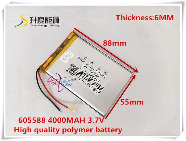 3.7 V 4000 mAH 605588 bateria De Polímero de iões de lítio/bateria de Iões de lítio para tablet pc BANCO do PODER do telefone celular mp4