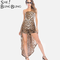 SheBlingBling Size S 2XL Leopard Skinny Playsuits Summer Sleeveless Women Rompers Fashion Bandeau Jumpsuit with Maxi Skirt Layer