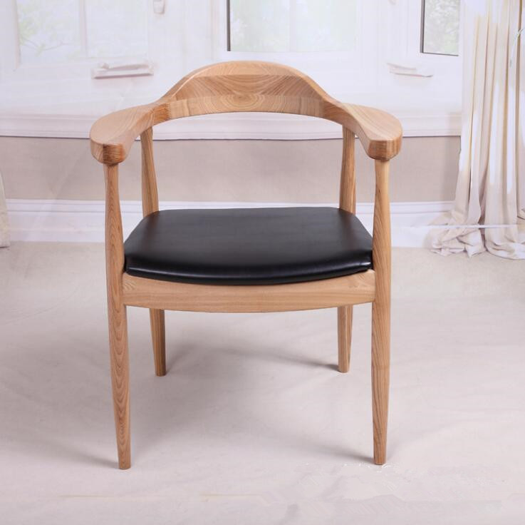 Mid-Century Presidential Solid Oak Wood Dining Chair Armchair Upholstery Seat Dining Room Furniture Modern Arm Chair For Home