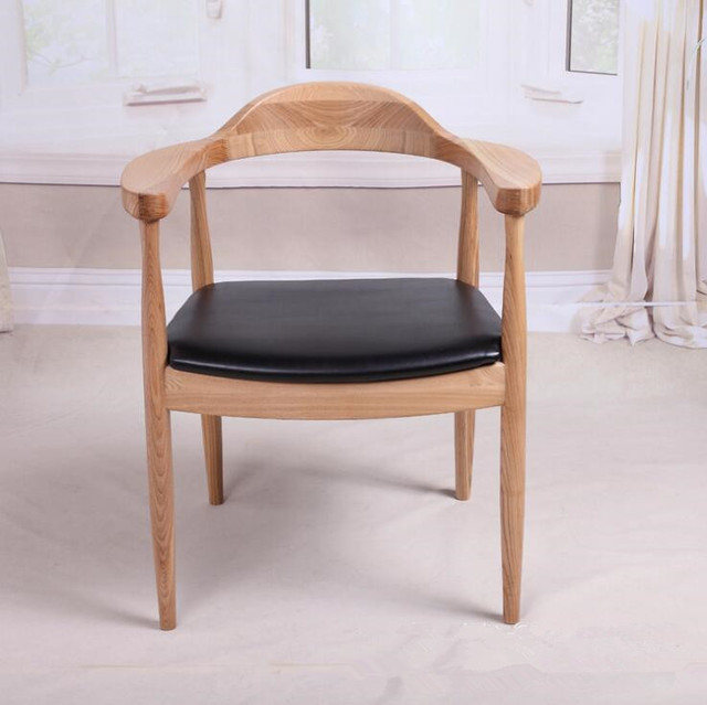 Mid Century Presidential Solid Oak Wood Dining Chair Armchair Upholstery Seat Room Furniture Modern