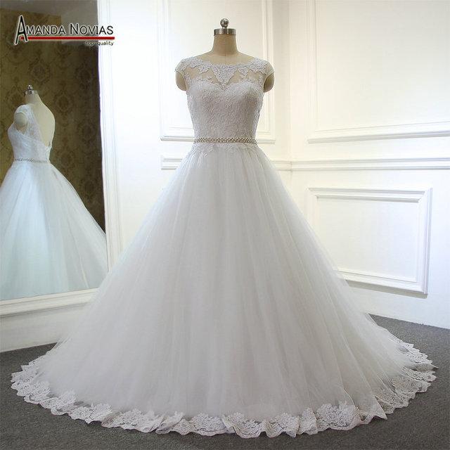Amanda Noivas Simple But Elegant A Line Lace Wedding Dress With Belt 2017 Vestido De Noiva