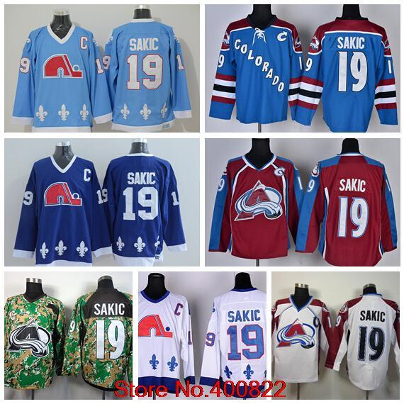 ebf51234cae 19 Joe Sakic Mens Quebec Nordiques Jersey Cheap Colorado Avalanche Ice Hockey  Jerseys Blue White Red Camo Throwback CCM Vintage