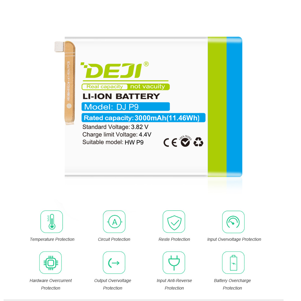 DEJI For HUAWEI P9 G9 0 cycle Battery Real Capacity 3000mAh Internal Bateria Replacement Batarya With Free Tool Kit Honor 8 in Mobile Phone Batteries from Cellphones Telecommunications