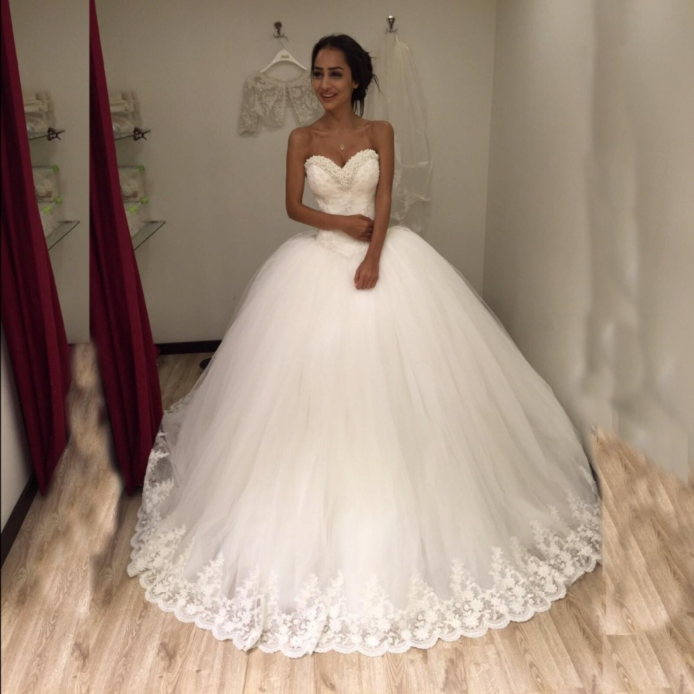 Princess Lace Bridal Ball Gowns Modest Country Wedding: Aliexpress.com : Buy Bride Gown Princess Pearls Lace UP