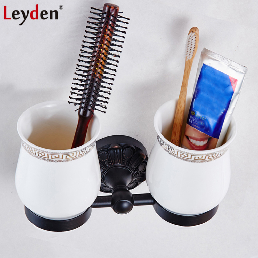Leyden Wall Mounted Oil Rubbed Bronze Brass Double Toothbrush Holders With 2 Cups Black Tooth Cup Holders Bathroom Accessories image