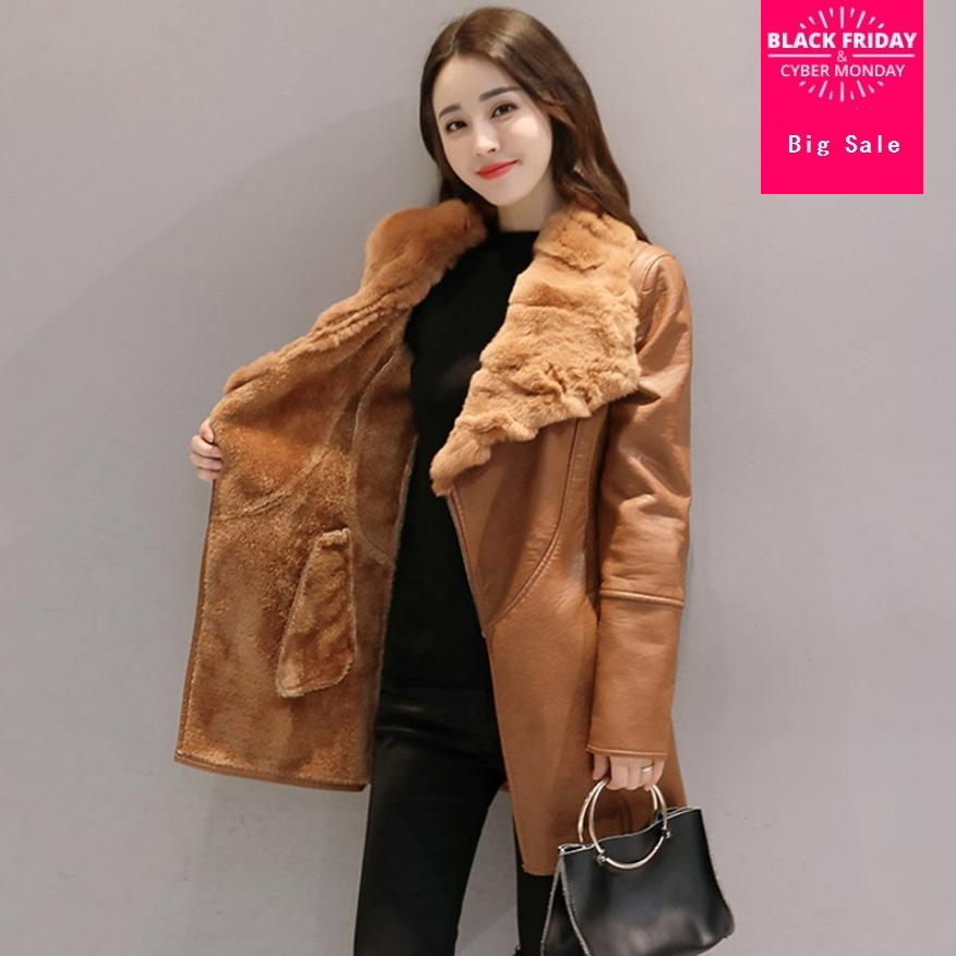 Winter fashion women's PU   leather   jacket rex rabbit real fur collar coat female tricken warm faux fur coat casual outwear L1490