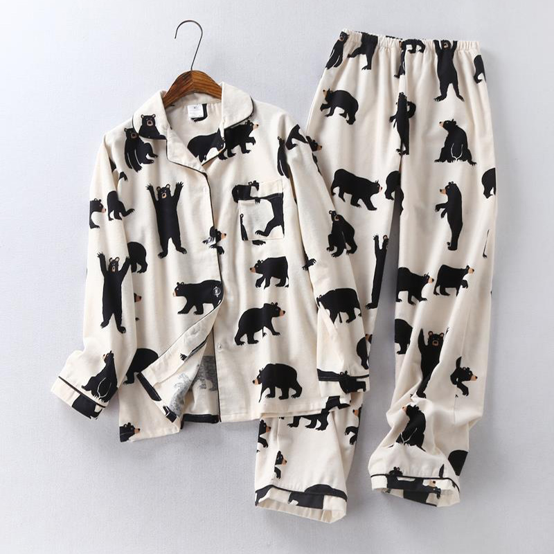 Lovers Cute White Bear Cotton Pajama Sets Casual Loose Long Sleeve Shirt Pants 2pcs Couple Suit 2020 Spring Sleepwear Homewear
