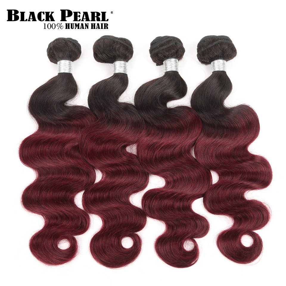 Black Pearl Pre-Colored Ombre Body Wave Human Hair Bundles Brazilian Hair Weave Bundles 4pc Ombre Remy Hair Extensions T1b99j