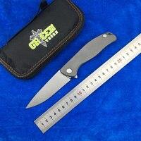 Green thorn F95 Flipper folding knife D2 blade TC4 Titanium Flat handle outdoor camping hunting pocket fruit knife EDC tools