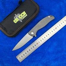 Green thorn F95 Flipper folding knife D2 blade TC4 Titanium Flat handle outdoor camping hunting pocket fruit knife EDC tools цены