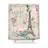 Paris France Nostalgy Pink French Vintage Shower Curtain Waterproof Polyester Fabric Bathroom Decor Printed Shower Curtain