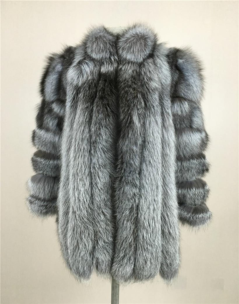 LIYAFUR 2017 Novo Stand Gola do Casaco Natural Genuíno Real de Prata Pele De raposa Casaco Longo Inverno Casacos Quentes para As Mulheres De Luxo vestuário