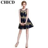 New 2016 Autumn Summer Women Dress The European Style Sleeveless Print Cute O Neck Empire Ball