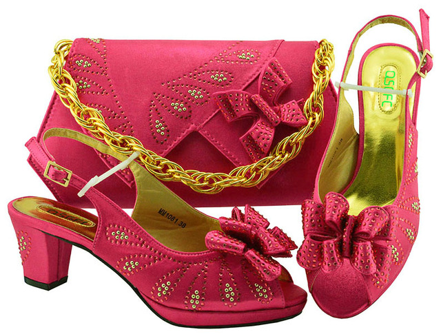 High Heels Women Heel shoes Pumps With bag Sets Fuchsia Color Thick Heels Peep Toe Soft Shoes With Bag women shoes heels MM1081