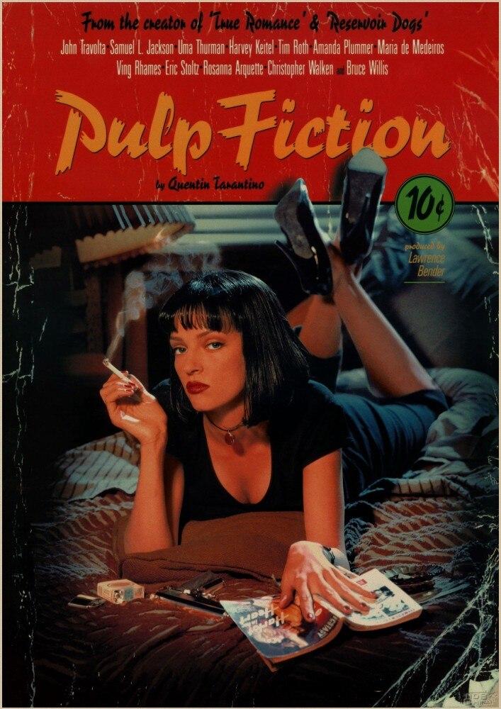 (Complementi Arredo Casa) (Adesivi Murali) Pulp Fiction Vintage Retro Matte Kraft Carta Antico Autoadesivo Della Parete Manifesto Casa Decora