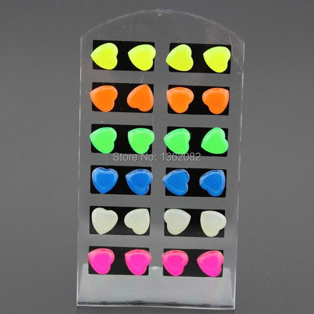 12 pairs herzförmigen Fluoreszierende Farbe Ohrringe Frauen Luminous ...