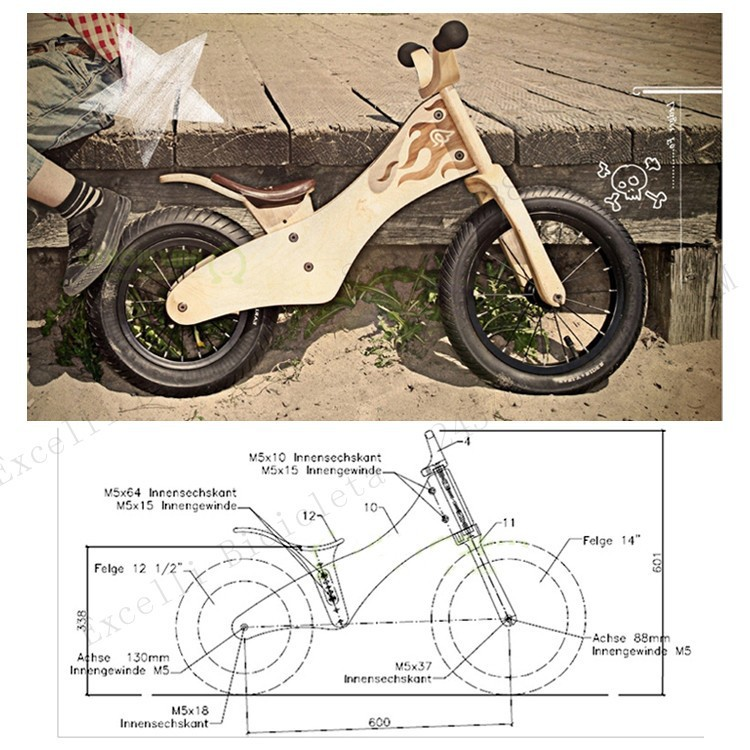 b07-Baby two wheels Wood Balance Bike for 2-6 Years age Bicicleta Infantil Balance Bike Kid's bicycle Common Childen's Cycling