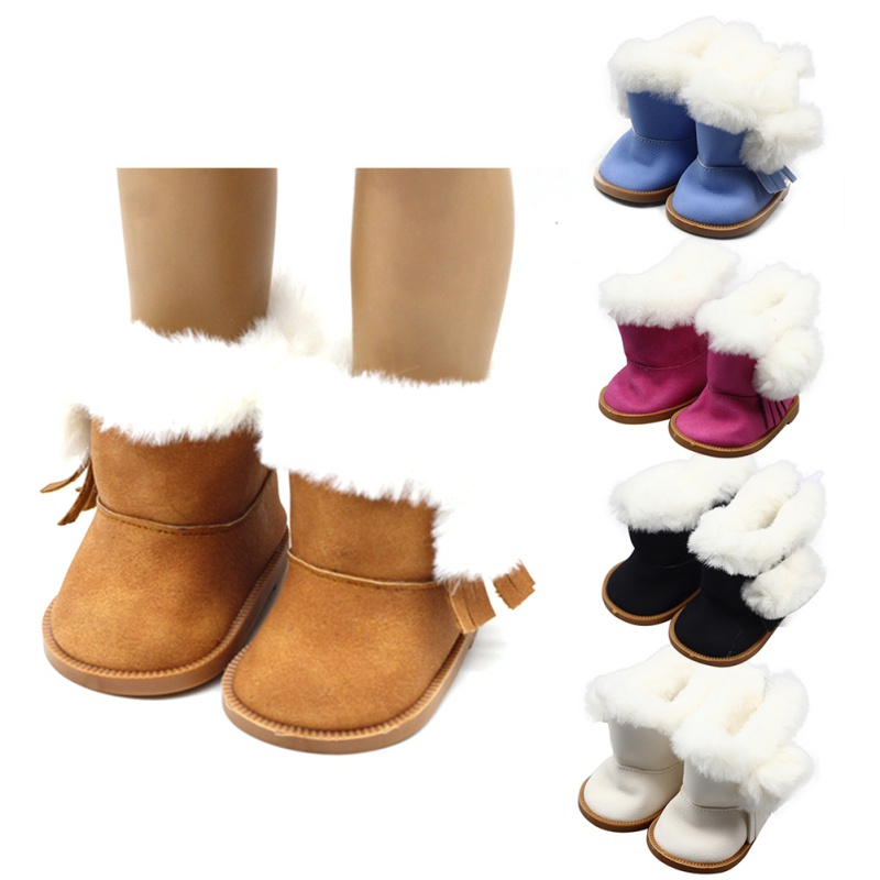 1 Pair Plush Winter Snow Boots For 43cm Baby Born Zapf Dolls As For 18 Inch American Girl Dolls Mini Shoes For Christmas Gift S2 rose christmas gift 18 inch american girl doll swim clothes dress also fit for 43cm baby born zapf dolls