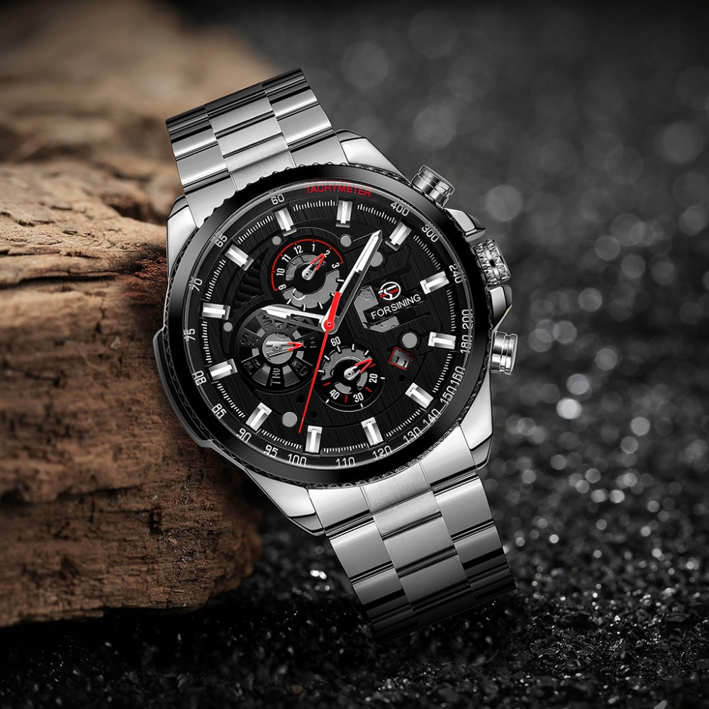 Classic Men Watch Black Clock Dashboard Three Eyes Six Needle Luxury Man Sport Mechanical Automatic Watches Montre Homme@50
