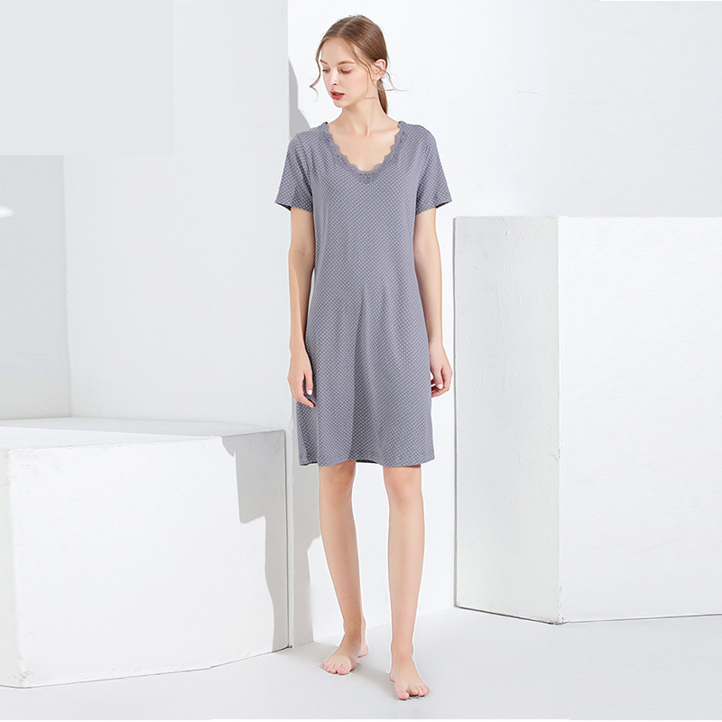 Germany Indoor Clothing Polka Dot Short Sleeve Soft Nightdress Women Nightgowns Sleepshirts Modal Cotton Sleepwear Dropshipping