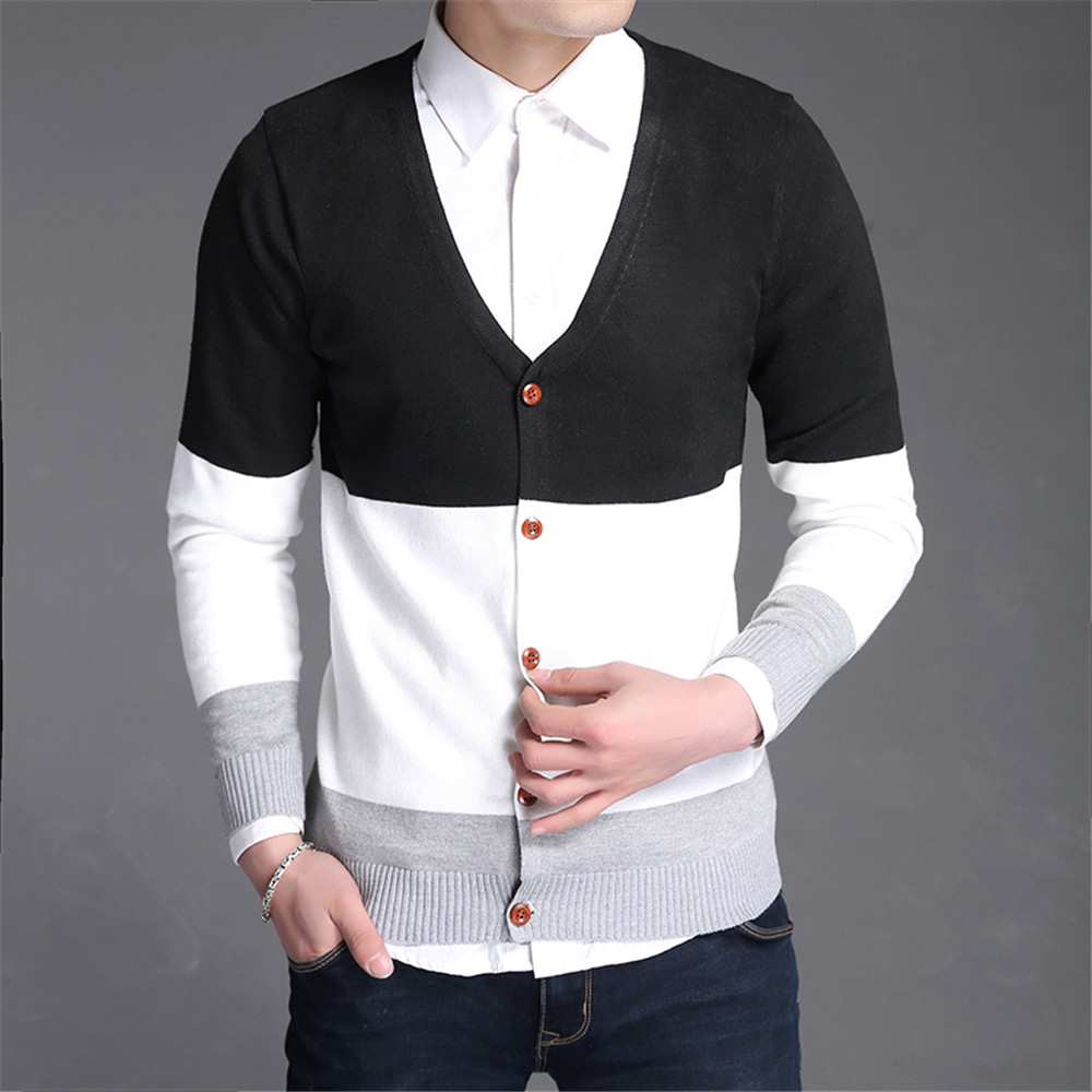 Men's Male Cotton Knit Cardigan Sweater Knit Sweaters Jumper ...