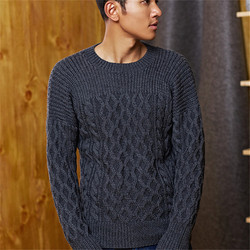 100% hand made pure wool knit men fashion argyle twist striped Oneck solid pullover sweater customized