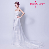 Beauty Emily New Mermaid White Evening Dress Vestido Bow Decorated On Waist Prom Gown Dress Long