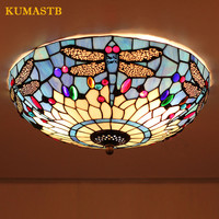 Dia40cm European Vintage Dragonfly Ceiling Light Living Room Bedroom Plafonnier Stained Glass Luminaria teto Decoration Lamp