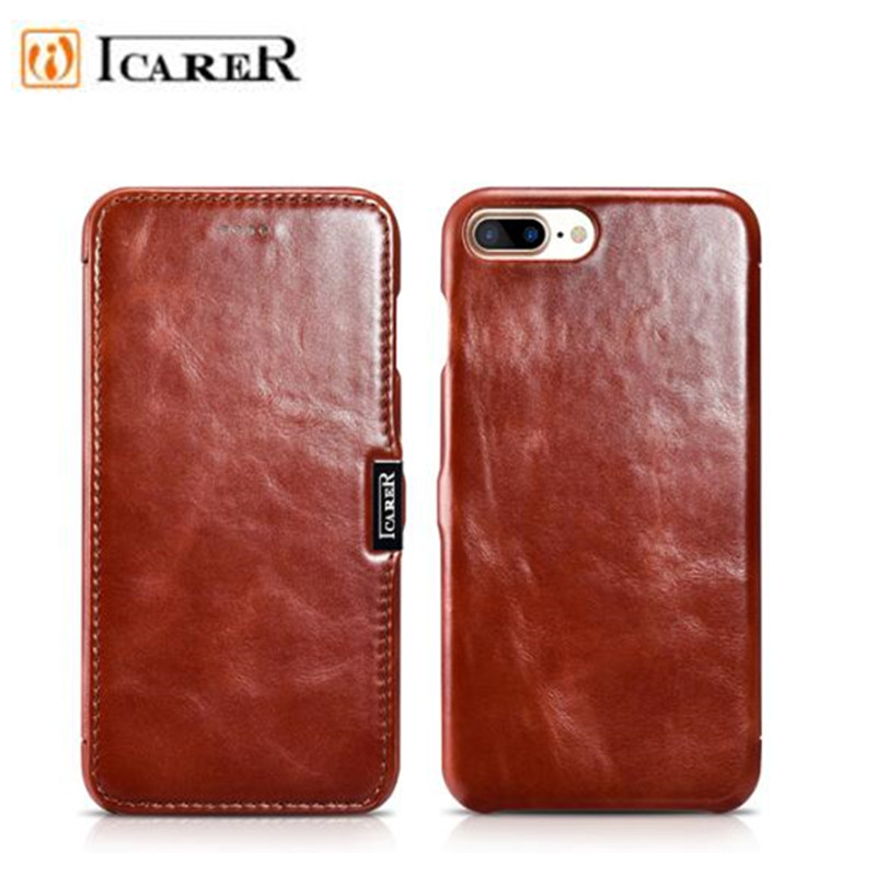 For iPhone 8 Case iPhone 8 Plus iCarer Classic Genuine Leather Flip Phone Case For iPhone 8 Plus Cowhide Leather Phone Bags Case
