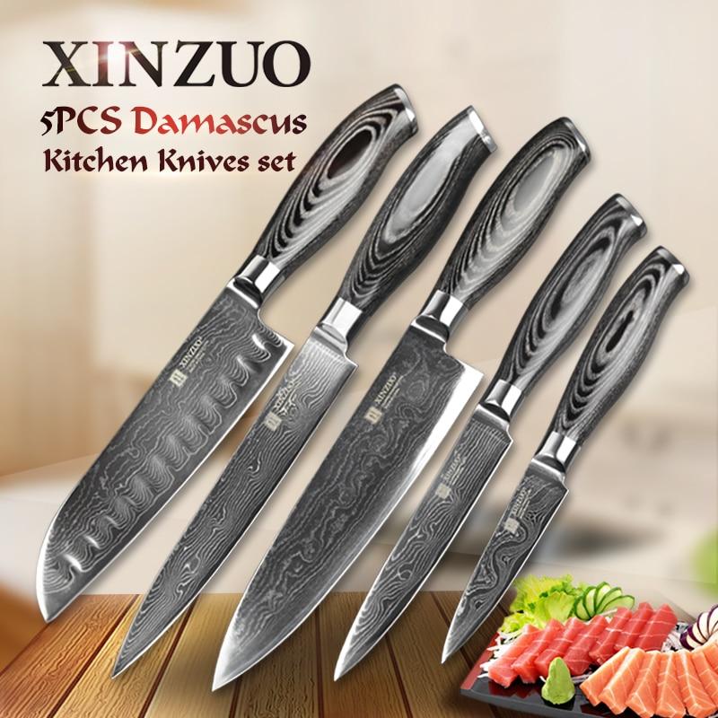 5 pcs kitchen knives <font><b>set</b></font> 73 layers Japanese VG10 Damascus steel kitchen knife <font><b>set</b></font> cleaver chef utility wood handle free shipping