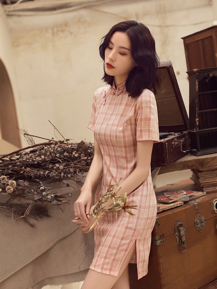 Traditional Chinese Dress Women Short Sleeves Vestidos Vintage Qipao Sexy Cheongsam Plaid Slim Party Dress