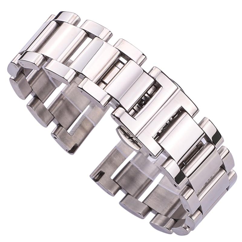 HENGRC Pulsera de reloj de metal Pulsera de mujer de acero inoxidable Correa de reloj pulida Hombres Correas de reloj Relojes Accesorios 20 mm 22 mm