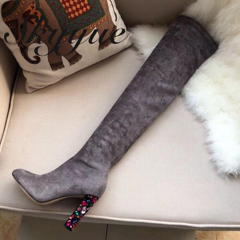 058472538dd SKYYUE New Pink black top quality over the knee high thigh high boots sexy pointed  toe chunky heel women boots shoes women - aliexpress.com - imall.com