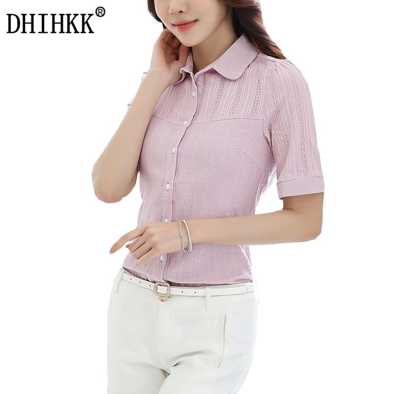 DHIHKK Official Store DHIHKK women cotton short sleeve blouse oversized slim fit shirt office wear casual tops 2017 women blouses blusas