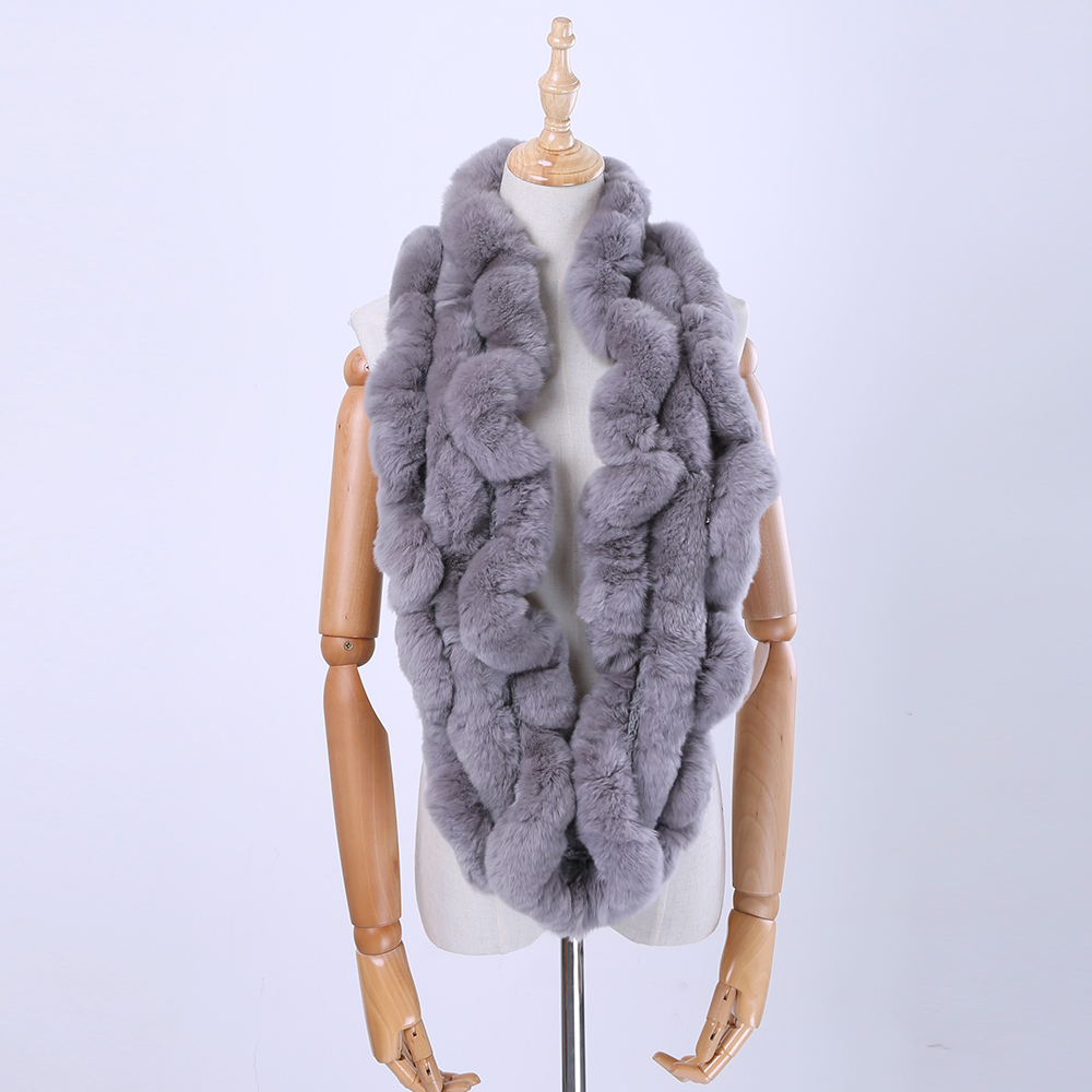 2017 Fashion Women's Winter Genuine Real Rex Rabbit Fur Loop Infinity   Scarf   Ring   Scarves   Cowl   Scarf     Wraps   Mufflers Snood Stole