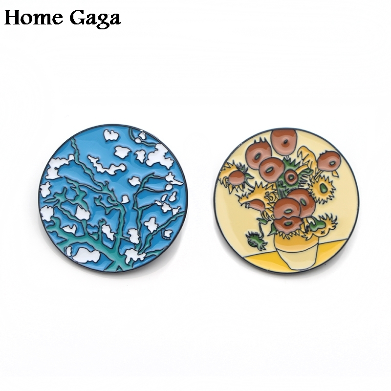 Modest 10pcs/lot Homegaga Van Gogh Painting Sunflowers Starry Sky Zinc Tie Pins Backpack Clothes Brooches For Women Badges Medals D1616 Apparel Sewing & Fabric Badges