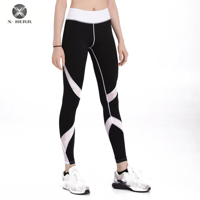 X-HERR Patchwork Yoga Pants Mid Waist Full Length Fitness Leggings Sport Sportswear Women Gym Pants Yoga Clothing Active Wear