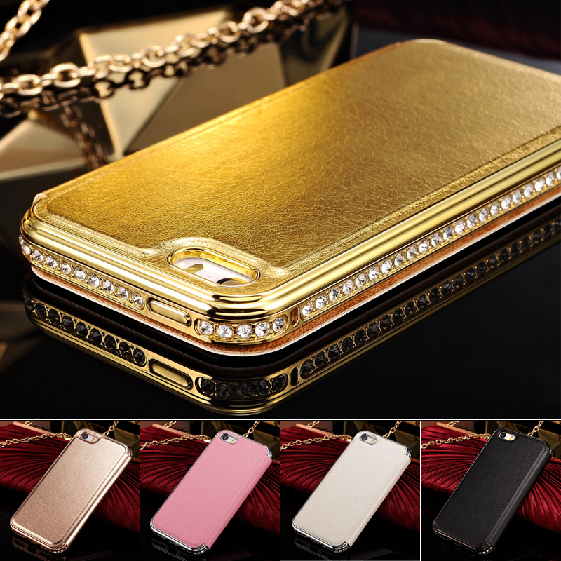 iPhone4 Aluminum Metal Frame Rhinestone PU Leather Case iPhone 4 4S Luxury Flip Crystal Diamond Phone Bag - Base On Users Store store