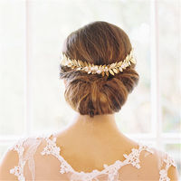Handmade Pearl Tiara Gold Leaf Wedding Bridal Headpiece Vintage Headband Hair Accessories