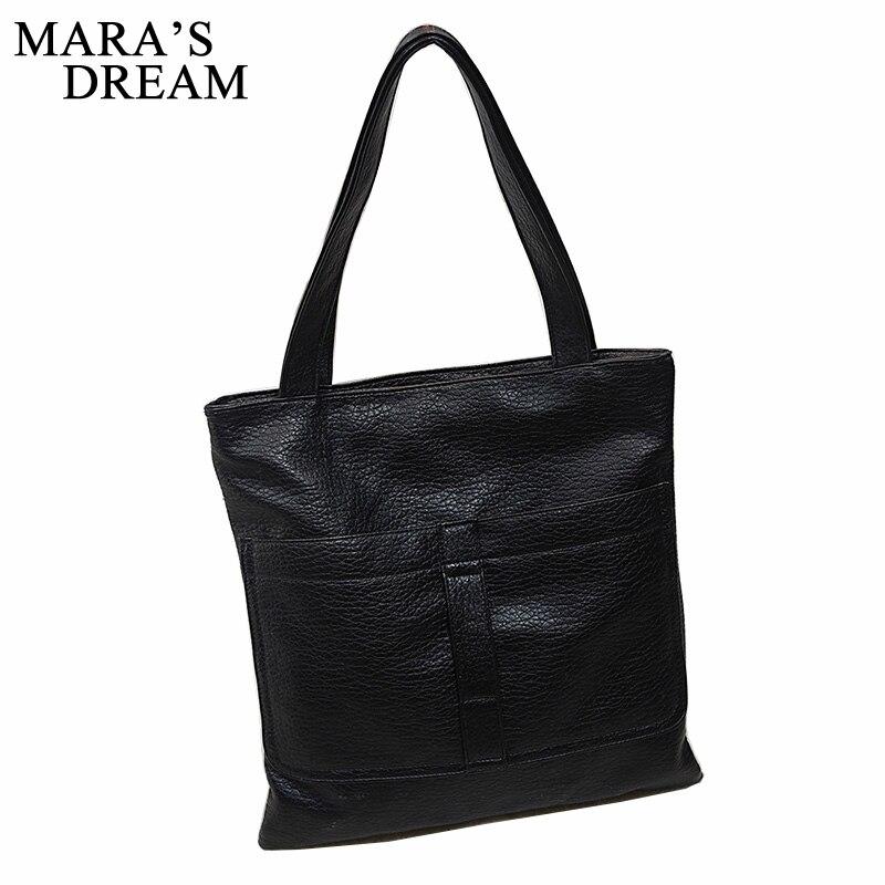 abe3a2a0f834 Mara de Rêve 2018 Mode noir Femmes sac à main grand PU en cuir d ...