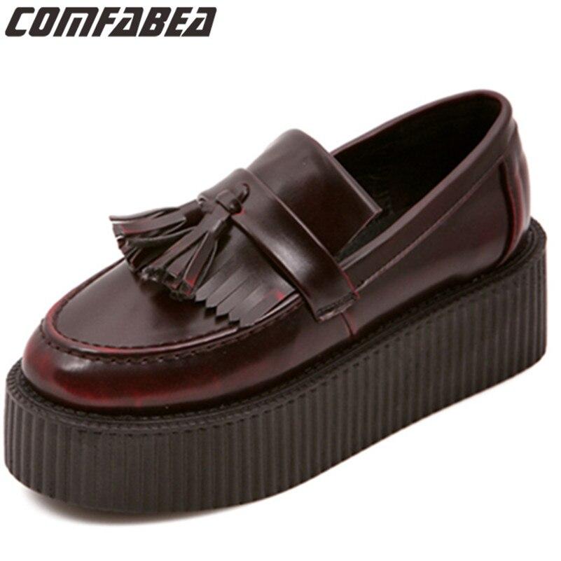 Size38 (24 cm) primavera otoño creepers Zapatos mujer deslizamiento en pisos borla color marrón casual Zapatos creepers plataforma Harajuku Zapatos