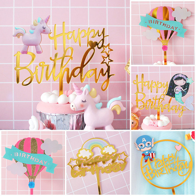 Gold Acrylic Happy Birthday Cake Toppers Unicorn Mermaid Cupcake Topper For Baby Shower Party