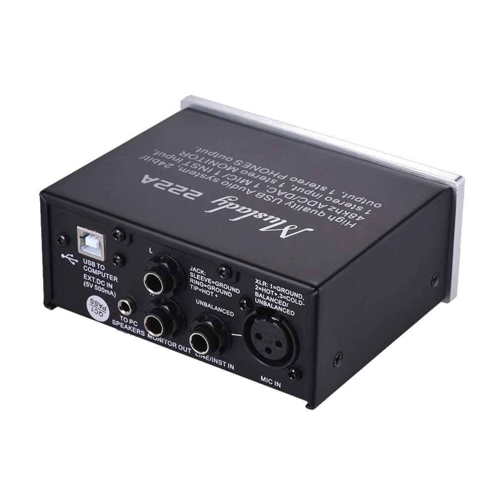 222a 2 channel usb audio system interface external sound card 48v phantom power dc 5v power. Black Bedroom Furniture Sets. Home Design Ideas