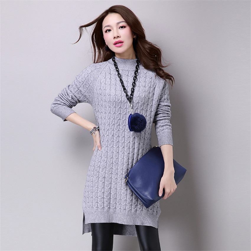 Autumn Winter Women Long Knitted Dress New Warm Thick Split Sweater Dresses Ladies Casual Loose Twist Sweater Vestidos AB530 multic femme skullies autumn beanies winter warm chapeau women hat female knitted cap ladies bonnet