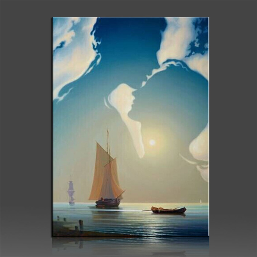 Romantic oil painting by numbers christmas gift on canvas for Paint to canvas